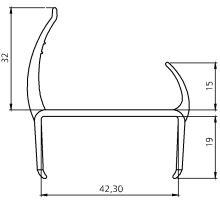 Těsnění PVC 42mm černé/šedé, 2 jazýčky, 3,2 m N