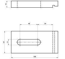 Svorka pomocného rámu AL - vnitřní 106 x 50 x 15 mm